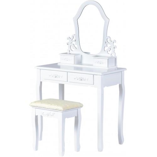 Kosmetický stolek ModernHome se 4 šuplíky, zrcadlem a stoličkou bílý