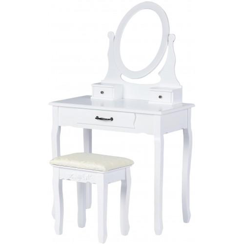 Kosmetický stolek ModernHome se 3 šuplíky, zrcadlem a stoličkou bílý