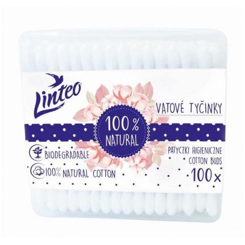 Papírové vatové tyčinky 100% natural Linteo 100 ks v boxu