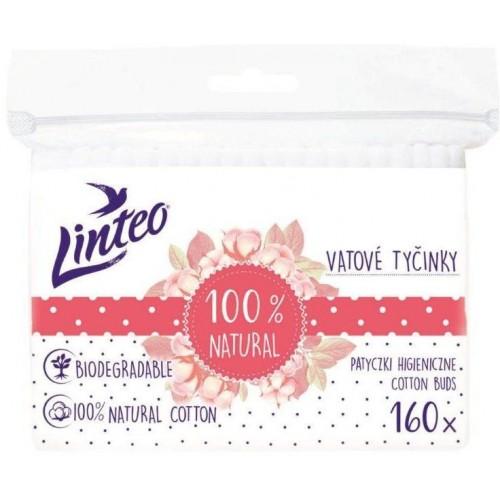 Papírové vatové tyčinky 100% natural Linteo 160 ks v sáčku