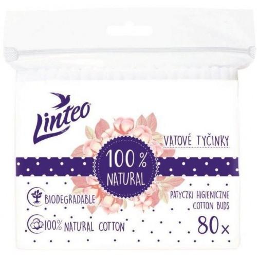 Papírové vatové tyčinky 100% natural Linteo 80 ks v sáčku