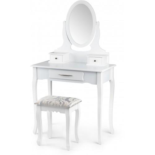 Kosmetický stolek ModernHome se 3 šuplíky, oválným zrcadlem a stoličkou bílý