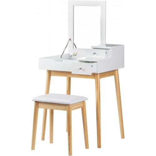 Kosmetický stolek ModernHome se 2 šuplíky, sklápěcím zrcadlem a stoličkou bílý