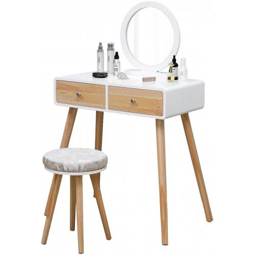 Kosmetický stolek ModernHome se 2 šuplíky, kulatým zrcadlem a stoličkou