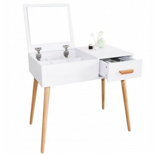 Kosmetický stolek ModernHome se zrcadlem a šuplíkem bílý