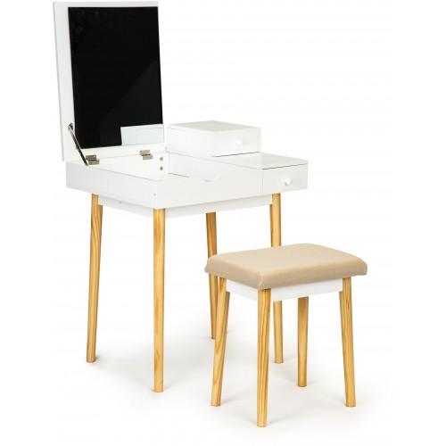 Kosmetický stolek ModernHome se 2 šuplíky, zrcadlem a stoličkou