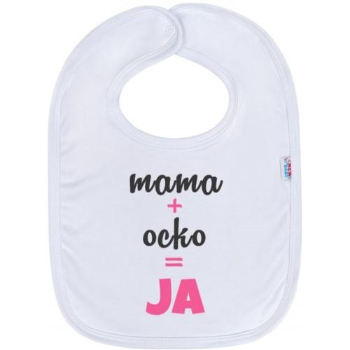 Kojenecký bavlněný bryndák New Baby mama+ocko,JA růžový Růžová