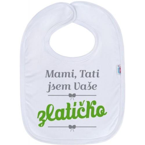 Kojenecký bavlněný bryndák New Baby Mami, Tati jsem Vaše zlatíčko Zelená