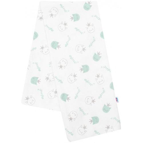 Flanelová plena s potiskem New Baby bílá meow zelená