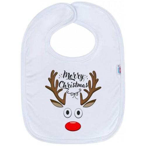 Kojenecký bavlněný bryndák New Baby Merry Christmas Bílá