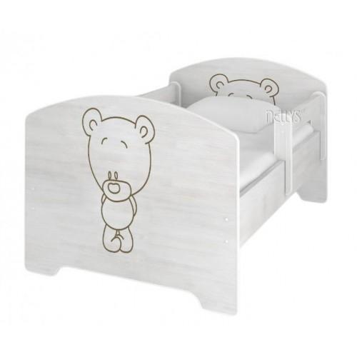 NELLYS Dětská postel BABY BEAR v barvě norské borovice, 160 x 80 cm + matrace zdarma, 160x80