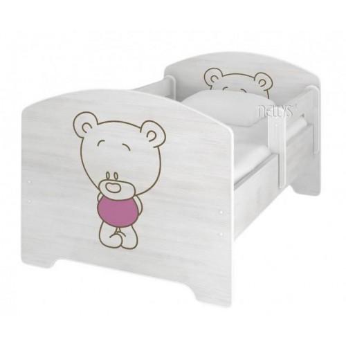 NELLYS Dětská postel BABY BEAR růžový v barvě norské borovice, 160 x 80  + matrace zdarma, 160x80