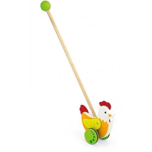 Dřevěná jezdící hračka Viga slepička