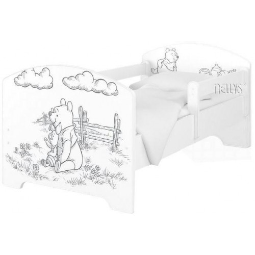BabyBoo Dětská postel 140 x 70cm Disney - Medvídek PÚ - black, bílá + matrace, 140x70