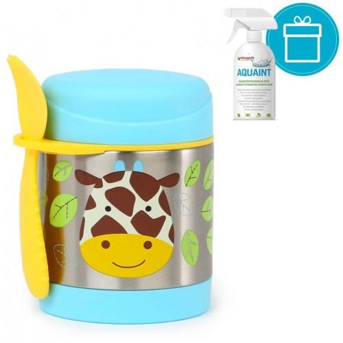 SKIP HOP Zoo Termoska na jídlo se lžičko/vidličkou Žirafa 325 ml, 12 m+ + AQUAINT 500 ml
