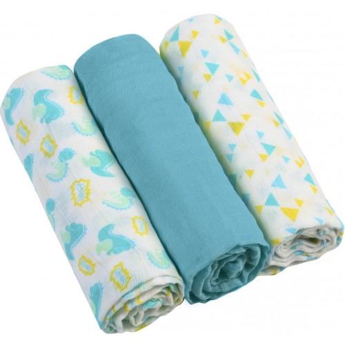 BABYONO Pleny mušelínové - Super soft 3 ks - Modré