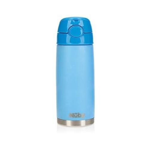 NUBY Termohrnek nerezový s brčkem 420 ml 24m + modrý