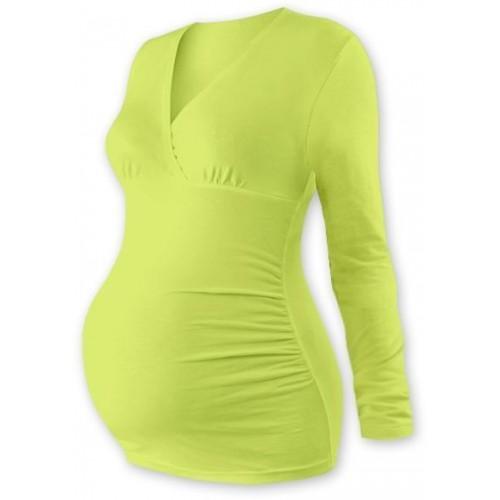 Těhotenské triko/tunika dlouhý rukáv EVA - sv. zelené, L/XL