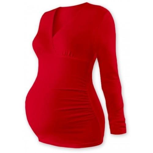 Těhotenské triko/tunika dlouhý rukáv EVA - červené, M/L