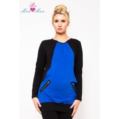Těhotenská tunika UMA - modrá/černá, L/XL