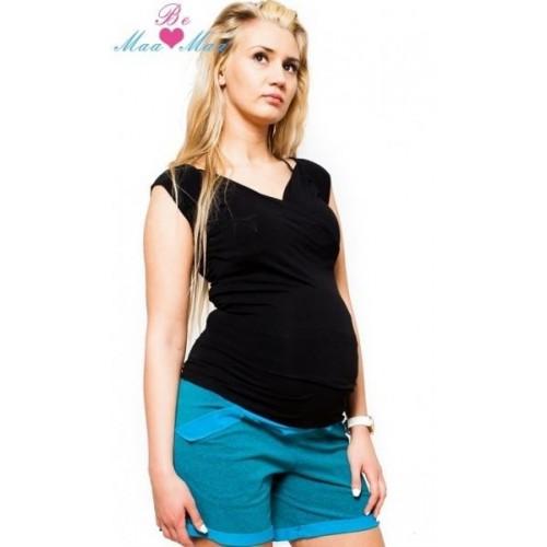 Těhotenské kraťasy BRIA - tyrkysově zelenkavý melírek, M (38)
