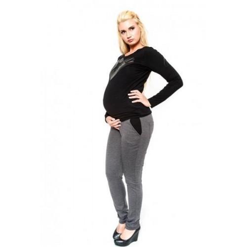 Těhotenské kalhoty  Be MaaMaa - NINA šedá, XS (32-34)