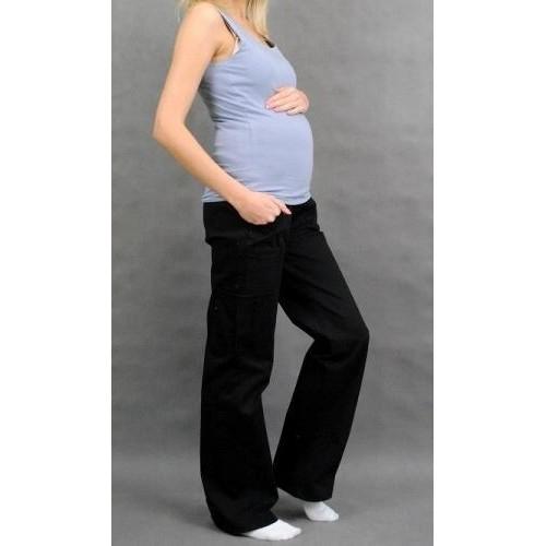 Těhotenské kalhoty s boční kapsou - černá, vel. L, L (40)