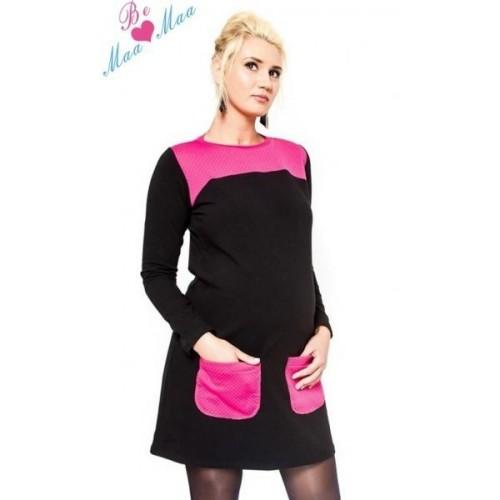 Těhotenské šaty/tunika LIZZA dl. rukáv - černá/růžová, L/XL