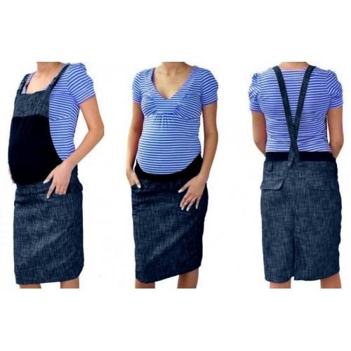 Těhotenské šaty/sukně s láclem - granátový melírek, M (38)