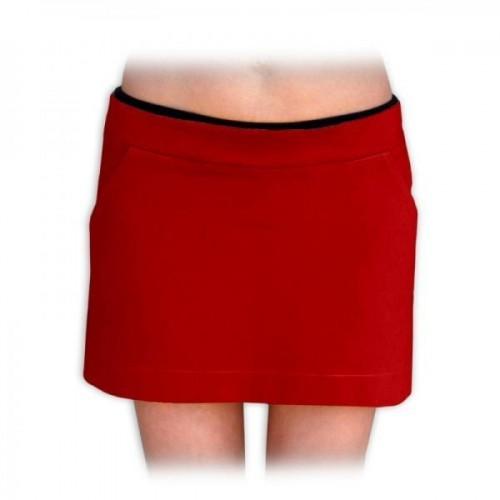 Boková denim sukně nejen pro těhotné - červená, 42