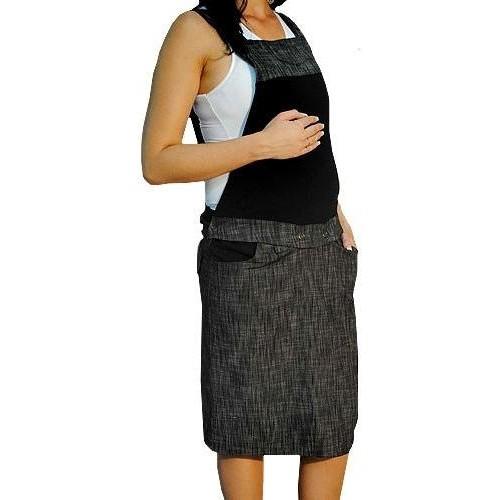 Těhotenské šaty/sukně s láclem - černý melírek, vel. M, M (38)