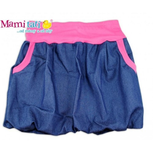 Balónová sukně NELLY  - jeans denim granát/ růžové lemy,vel. XL/XXL, XL/XXL