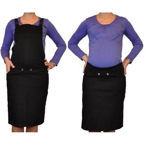 Těhotenské šaty/sukně s láclem - černé, S (36)