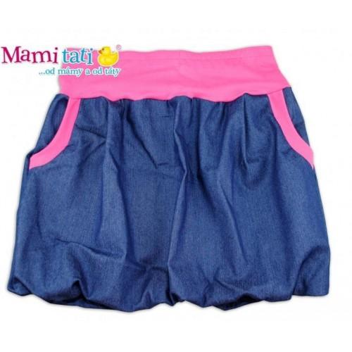 Balónová sukně NELLY  - jeans denim granát/ růžové lemy, S/M