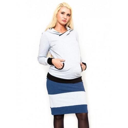 Těhotenská sukně Be MaaMaa - LORA jeans/sv. šedé, XS (32-34)