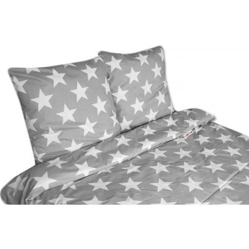 2 dílné bavlněné povlečení 140 x 200 - Big Stars - šedé, 140x200/70x80cm