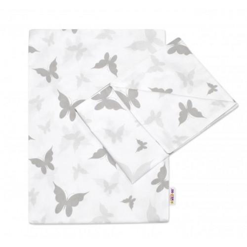2-dílné bavlněné povlečení Motýlci - šedé, 120x90