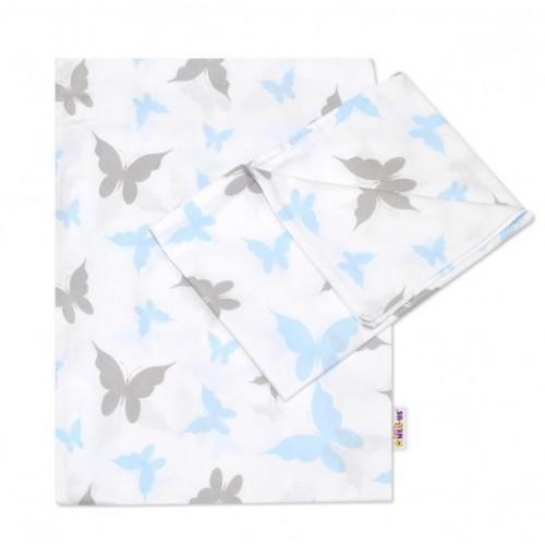 2-dílné bavlněné povlečení Motýlci - modré, 120x90