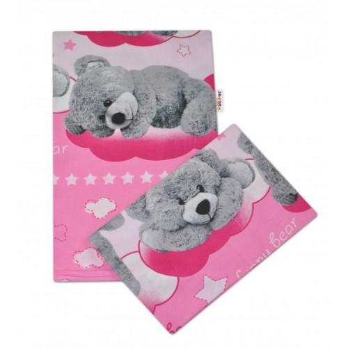 2-dílné bavlněné povlečení Medvídek hvězdička - růžové - 135x100cm, 135x100