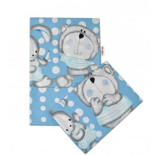 2-dílné bavlněné povlečení Medvídek s králíčkem Bubble - modrý, 120x90