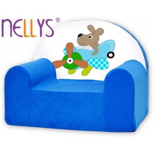Dětské křeslo Nellys - Pilot/letatýlko modré