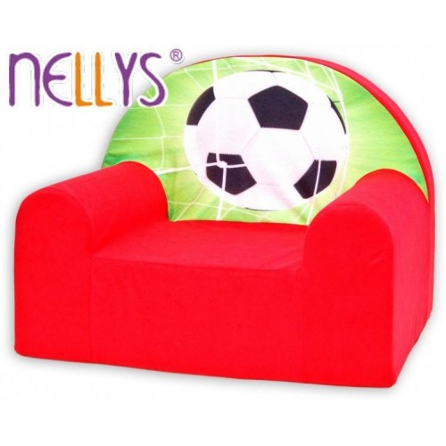 Dětské křesílko/pohovečka Nellys ® - Fotbal v červené