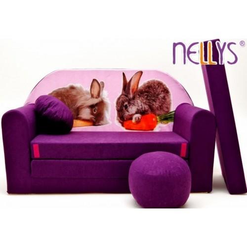 Rozkládací dětská pohovka 56R - Zajíčci ve fialové