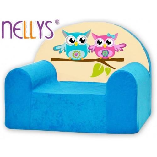 Dětské křeslo Nellys - Sovičky Nellys modré