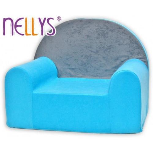 Dětské křesílko/pohovečka Nellys ® - Šedá s modrou