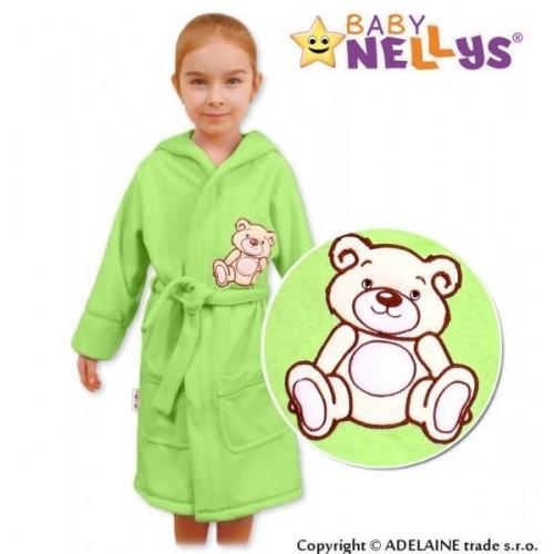 Baby Nellys Dětský župan - Medvídek Teddy Bear - zelený, 86 (12-18m),92 (18-24m)