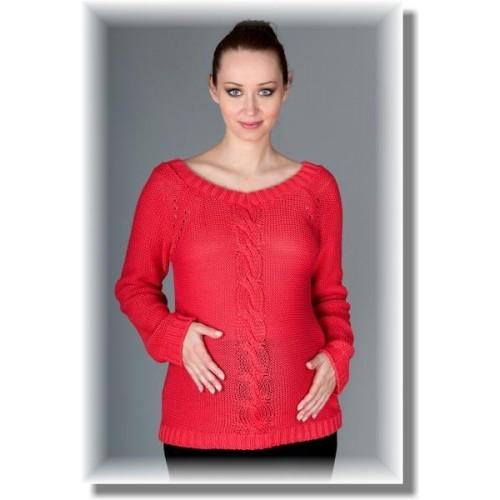 Těhotenský svetřík Tia - sytý korál, UNI