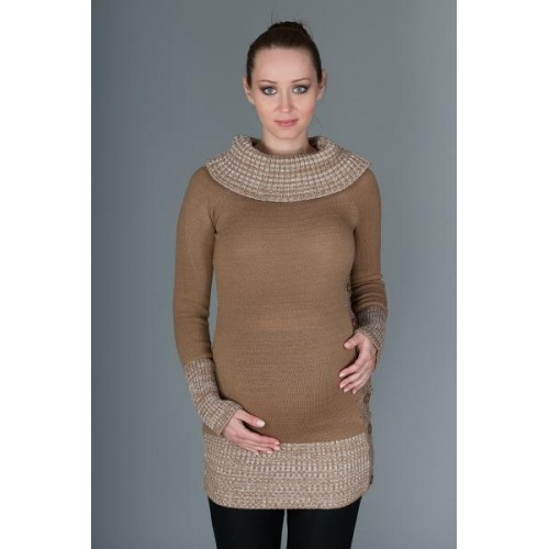 Těhotenský svetřík/tunika Carmen - karamelově hnědá s melirkem, UNI