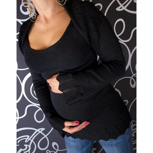 Těhotenský svetřík s bolerkem - černá