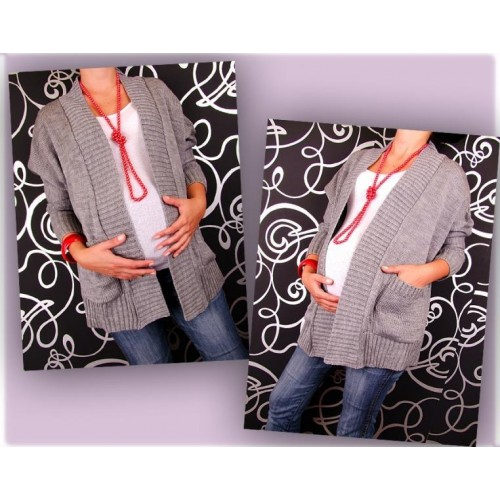 Kardigan, svetřík, plášť s kapsami, Monac - šedá, UNI